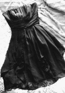 DAVID'S BRIDAL crepe' strapless black dress sz. 6